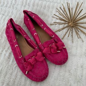 Excellent Condition Coach Pink Loafers Size 7